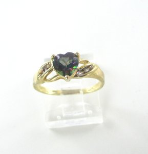 Gold 10k Yellow Heart Purple Cocktail Band Engagement Ring