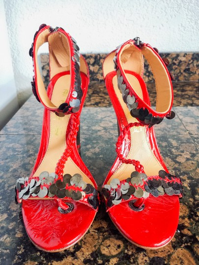 L.A.M.B. Patent Leather Sparkle Sequin Metallic Hollywood Detail Red Pumps