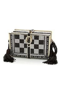 Judith Leiber Black White Gold, black, silver Clutch