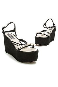 Chanel Suede Pearl Black Sandals