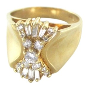 Other 14K YELLOW GOLD RING 19 GENUINE DIAMONDS 1 CARAT SZ 7 CLUSTER WEDDING BAND JEWEL