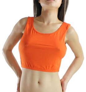 Exotic Wear Orange Sexy Crop Tank Spandex Stretches Yoga Dance Gym Camp Swim Tank Top Solid Colors S M L