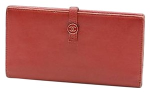 Chanel Chanel Red Leather Cc Logo Continental Wallet