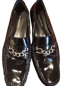 Burberry London Leather Driving Mocs Black Patent Flats