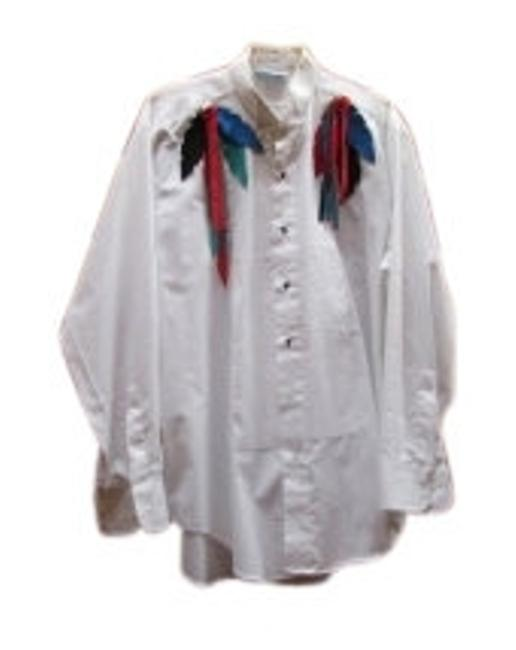 Preload https://item2.tradesy.com/images/raggs-white-with-black-red-turqoise-and-blue-faux-lea-an-icredible-western-blouse-size-12-l-10476-0-0.jpg?width=400&height=650