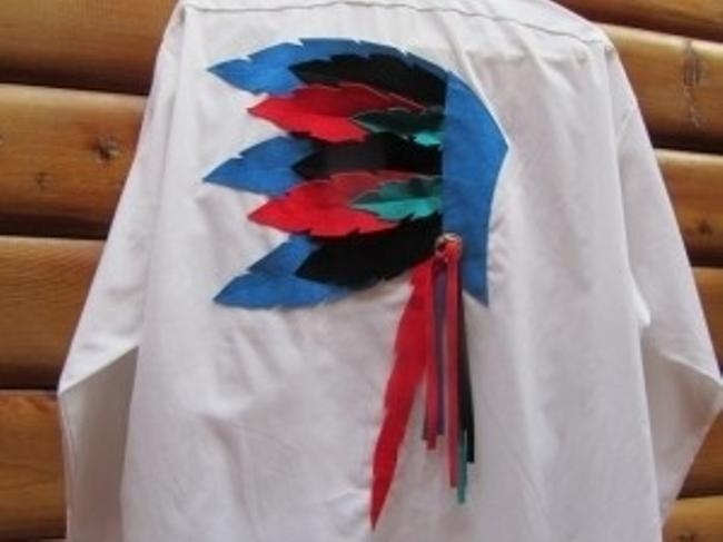 Raggs Top white with black, red, turqoise, and blue faux lea