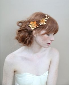 BHLDN Gold Golden Rose and Blossom Branch Headpiece - Style #355 Hair Accessory