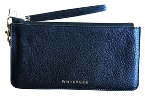 Whistles Whistles Black Leather Wristlet with Gold Hardware