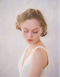BHLDN Champagne Short Twigs & Honey Rhinestone Adorned Mini Tulle - Style #145 Bridal Veil