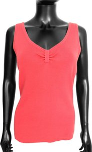 Ann Taylor V-neck Shift Sleeveless Ruched Top Pink