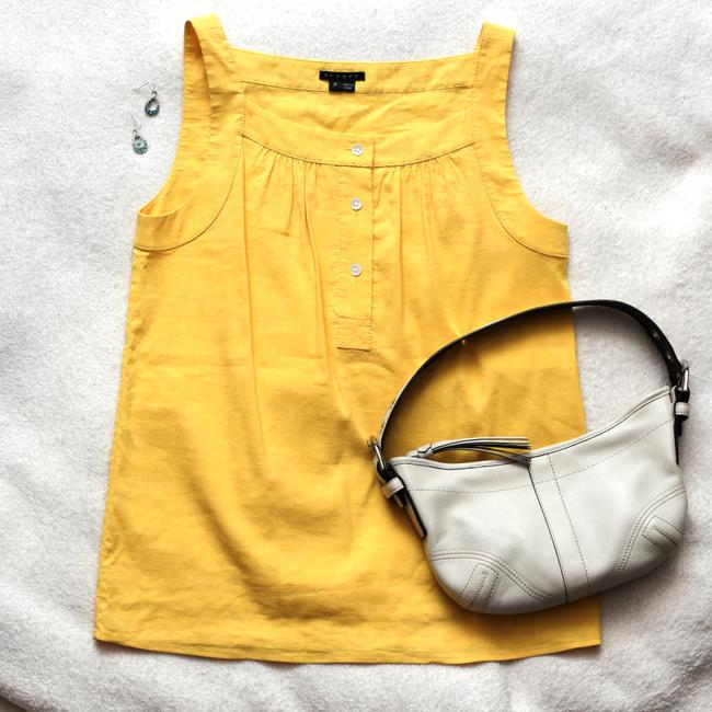 Theory Linen Summery Career Top Yellow