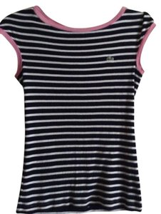 Lacoste Striped With Pink Trim Size 36 Length From To Hem: 22