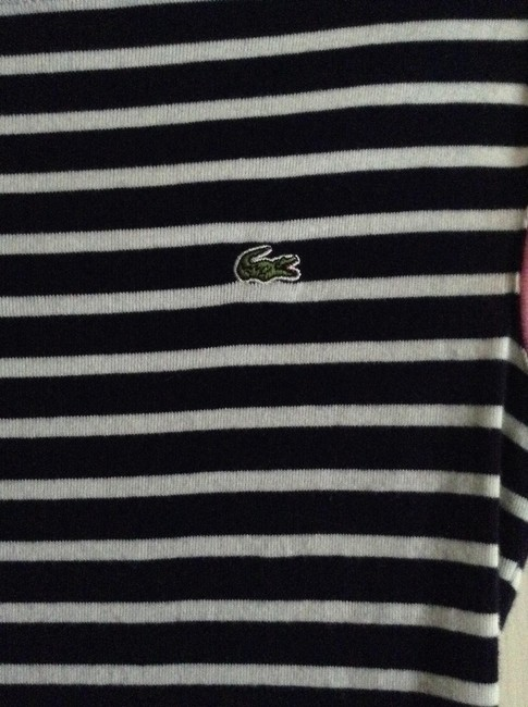 """Lacoste Striped With Pink Trim Size 36 Length From Shoulder To Hem: 22"""" Width Across Chest: 15"""" Material: Cotton Worn Twice - T Shirt Blue and White"""