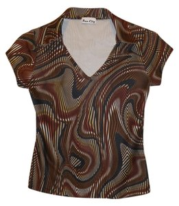 Rave City Groovy Psychedelic Funky 70s 90s Polyester Pattern Office Work Casual Short-sleeve Top brown
