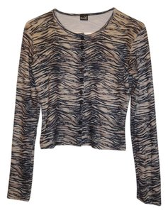 Other Tiger Faux Fur Striped Bold Polyester Button Animal Print Leopard Party Button Down Shirt brown and black