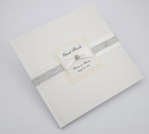 Ivory Wedding Guest Book - Personalized -