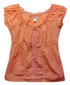 Old Navy Lace Lace Trim Cotton Pink Peasant Summer Pretty Top peach