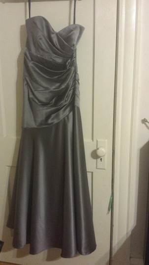Dessy Charcoal Gray Matte Satin Style 2749 Formal Bridesmaid/Mob Dress Size 6 (S)