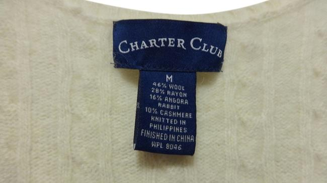 Charter Club Cashmere Wool Angora Fur Cream Sailing Date Night Night Out Suit Work Office Designer Sweater