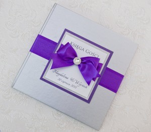Wedding Guest Book - Personalized - Silver And Purple