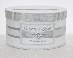 Card Box / Box / Money Box with Nameplate White and Silver Glitter Other