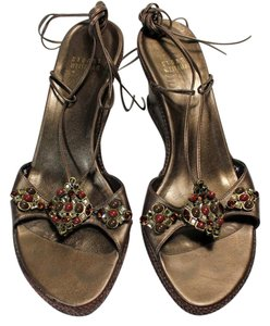 Stuart Weitzman Leather Beaded Strappy Brown Wedges