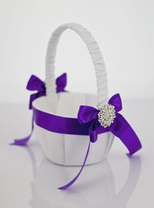 White Satin Flower Girl Basket With Satin Ribbon And Brooch