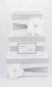 Whine and Silver Card Box / Wedding Box / Wedding Money Box - 3 Tier - Personalized