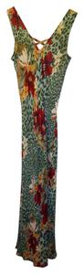 green Maxi Dress by Coldwater Creek Travel Silk Leopard Floral