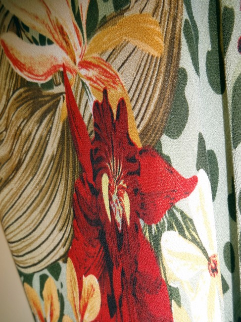 green Maxi Dress by Coldwater Creek Travel Silk Leopard Floral Tropical