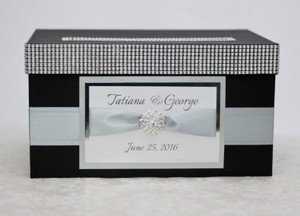 Card Box / Wedding Box / Wedding Money Box - Black And Silver