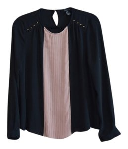 Forever 21 Pleated Sheer Top Black, Pink & Gold