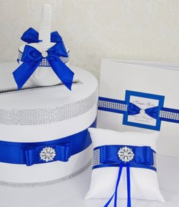 Wedding Set - Card Box Ring Pillow Guest Book Basket Girl - Navy Blue
