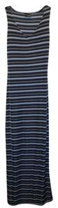 blue Maxi Dress by Urban Life Striped Stretchy V-neck