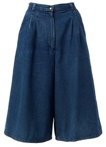 Vintage Culotte Skorts Shorts Denim Blue