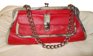 Arden B. Leather red with black & grey trim Clutch