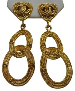 Chanel Vintage Chanel Gold Tone Earrings