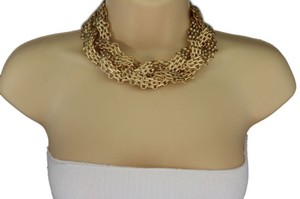 Other Women Gold Short Necklace Thic Metal Chunky Chain Braided Fashion Jewelry