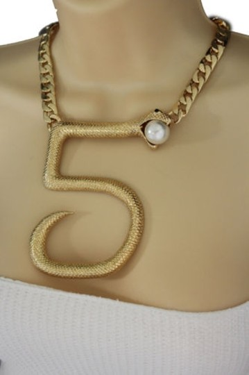 Other Women Gold Short Necklace Thick Metal Chains Big Five Snake Fashion Jewelry