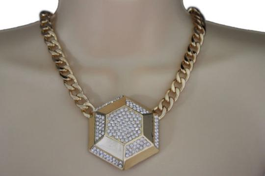 Other Women Gold Necklace Metal Chain Link Big Geometric Botton Charm Fashion Jewelry