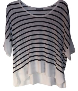 Zara Lightweight Top White and Navy Stripes