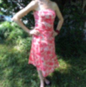 Ann Taylor short dress Pink Floral Petite 00 Classic Strapless on Tradesy