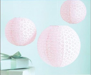 Eyelet Lace Paper Lanterns Lot Of 5 Small + 3 Large