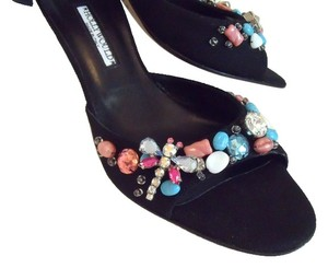 Hollywould Jeweled Dragonfly Beaded Spring Garden black Mules