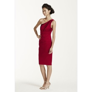 David's Bridal Red Formal Bridesmaid/Mob Dress Size 10 (M)