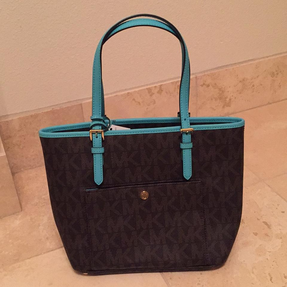 8a8562de3818 Michael Kors Md Snap Pocket Brown Mk Leather with Turquoise Trim Tote