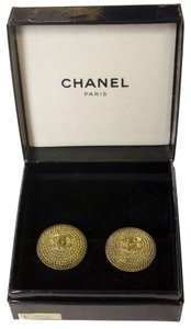 Chanel CHANEL Signature Rope Chain Detail Classic CC Monogram Gold Earrings
