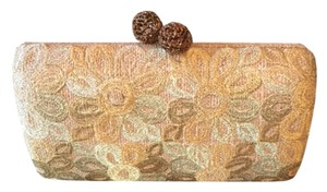 Tommy Bahama Snakeskin Floral Hard Shell Natural Clutch