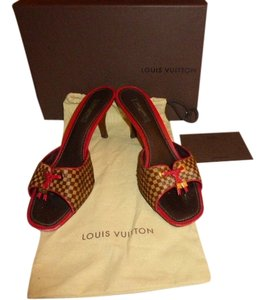Louis Vuitton DAMIER BROWM WITH FUSCHIA TRIM Mules