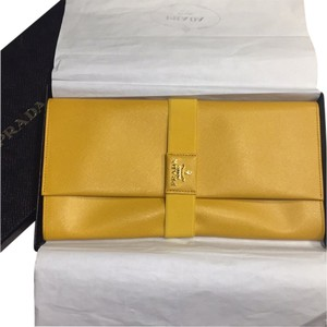 Prada Yellow Designer Fashion High Fashion Unique Rare Mimosa Clutch